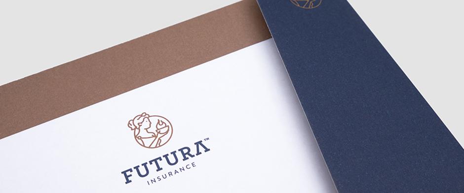 Futura Insurance. Diseño de identidad corporativa para compañía de seguros.