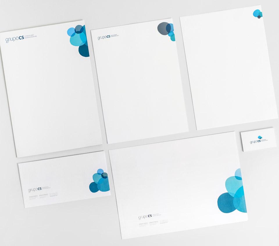 Papelería Corporativa Grupo CS. Pixelarte estudio de diseño gráfico, creatividad y web.