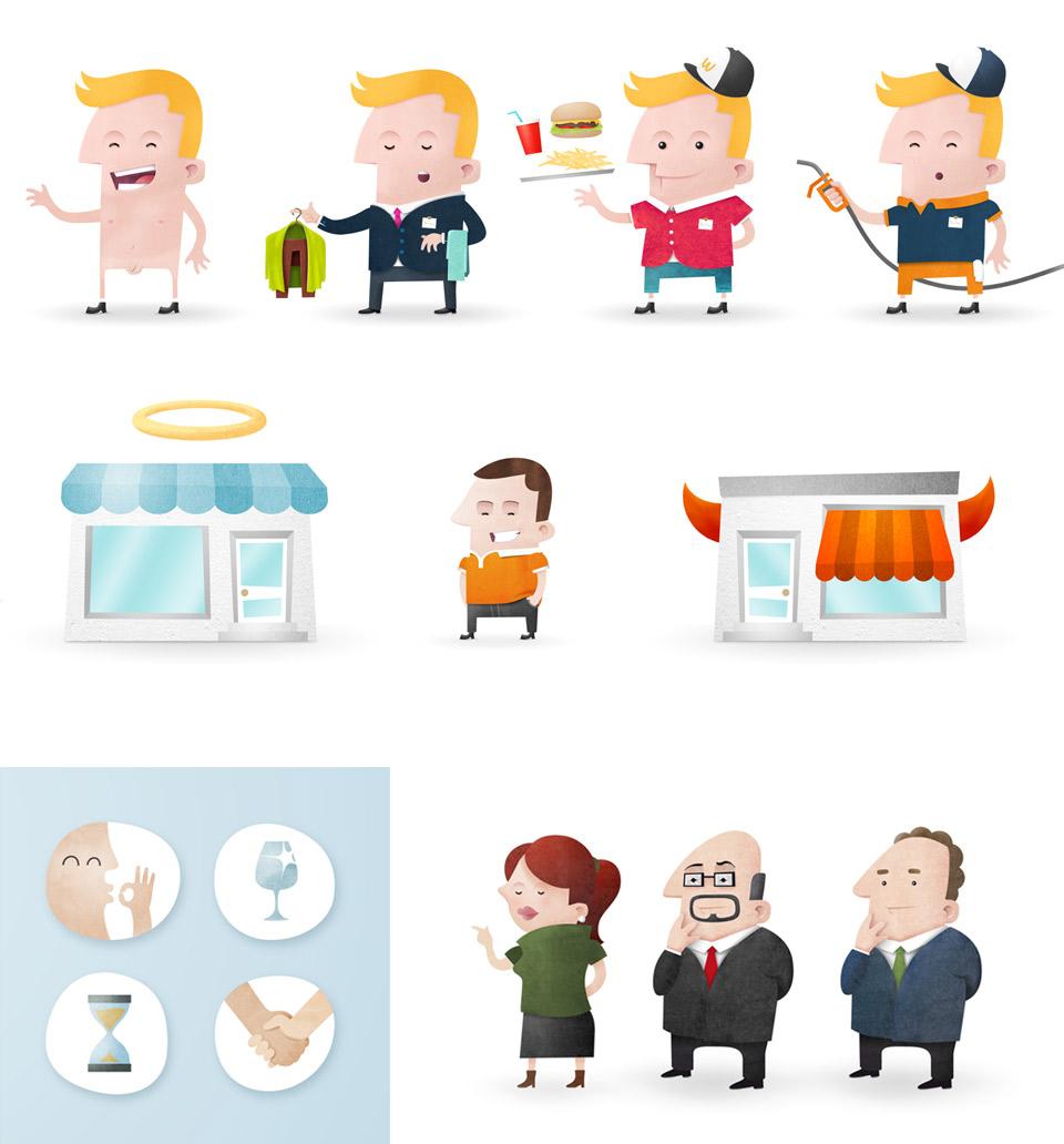Ilustraciones Customerville animación. Pixelarte estudio de diseño gráfico, creatividad y web.