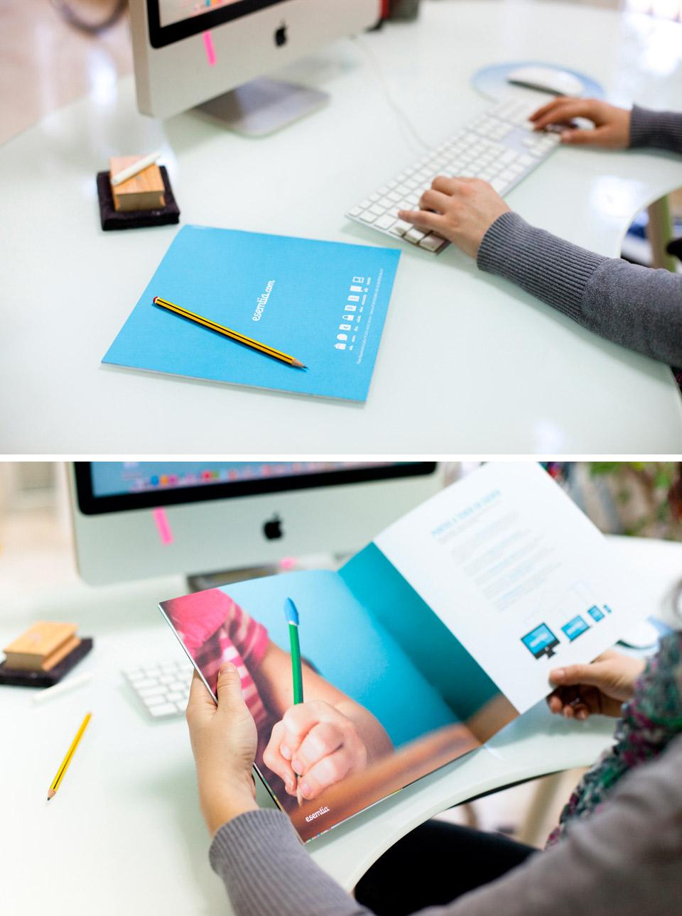 Dossier Esemtia Corporativa. Pixelarte estudio de diseño gráfico, creatividad y web.