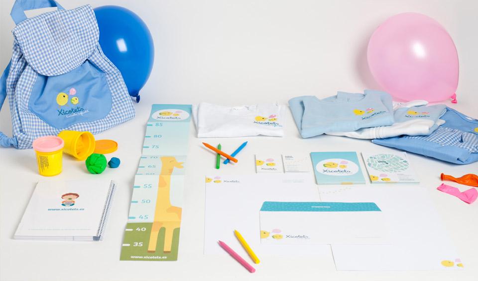 Elementos corporativos Xicotets. Pixelarte estudio de diseño gráfico, creatividad y web.