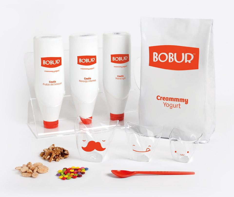 Elementos packaging Bobur. Pixelarte estudio de diseño gráfico, creatividad y web.